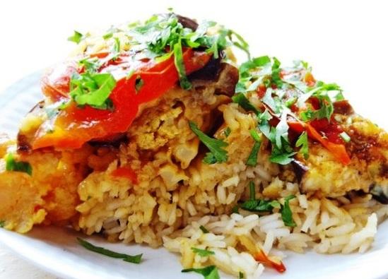 рис с овощами в духовке фото