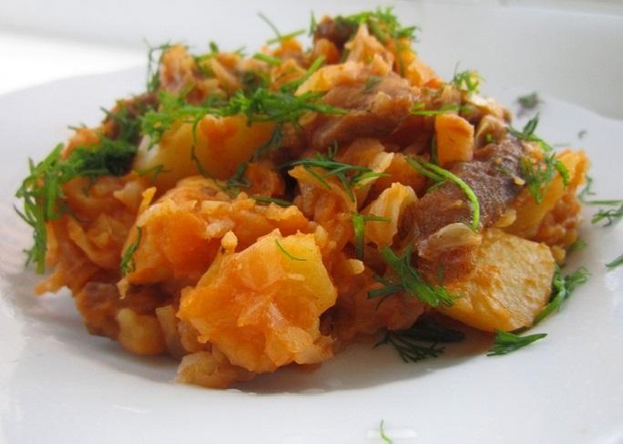 Капуста тушеная с картошкой и мясом рецепт с фото